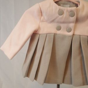 9f521a510 Tahari Baby Girl Coat Pink Gray Winter Pleat w16 NWT